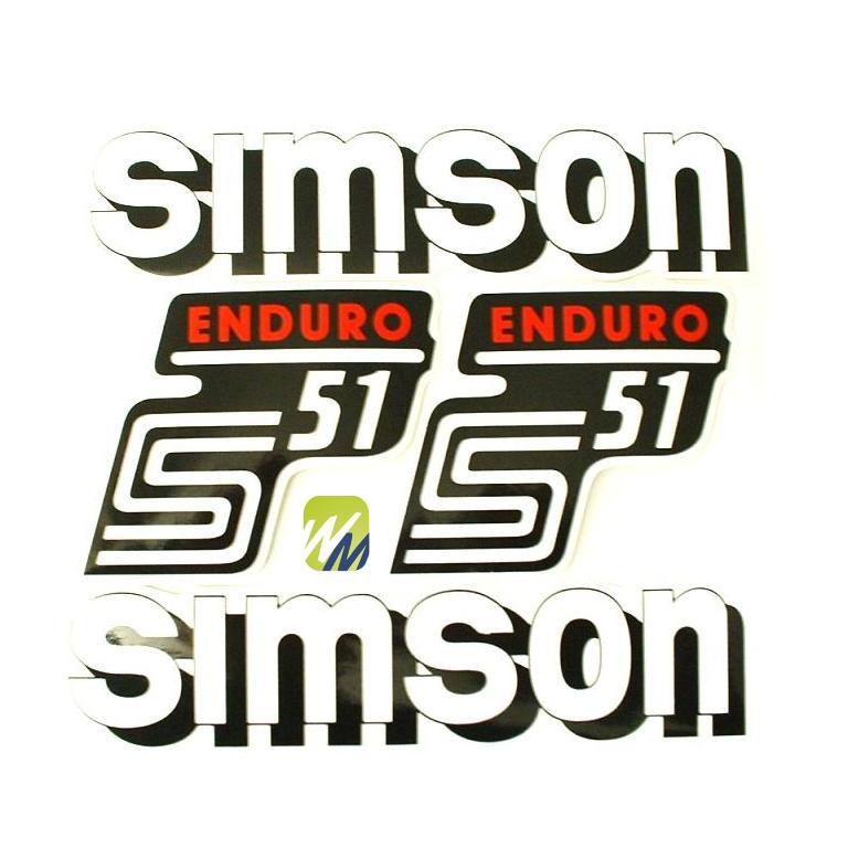 Aufkleber Set Simson S51 Enduro Rot Weiss Tank Seitendeckel