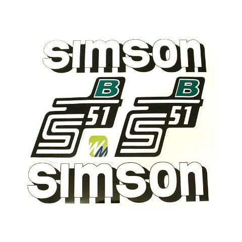 Aufkleber Set Simson S51 B Grün Weiss Tank Seitendeckel